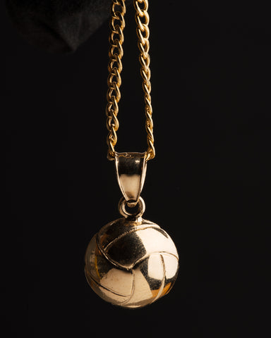 COMBO: 10K Gold Volleyball Pendant & 24 Inch 10K Gold Cuban Link Chain