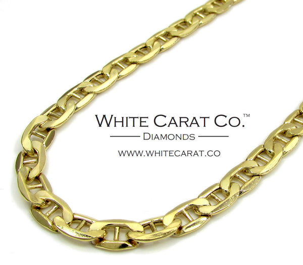10K Gold Puffed Mariner Link Chain - 5.0 mm
