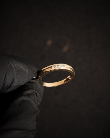 0.10 CT  Diamond Wedding Band in 14K Yellow Gold