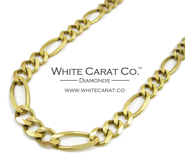 10K Solid Gold Figaro Chain - 6.5 mm