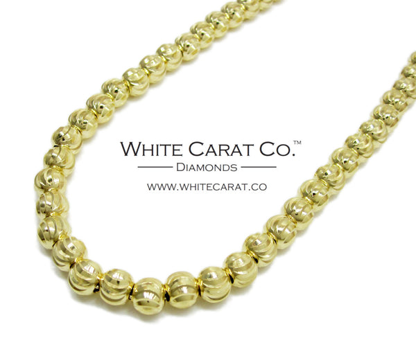 10K Gold Solid Moon Cut Bead Chain - 6.0 mm