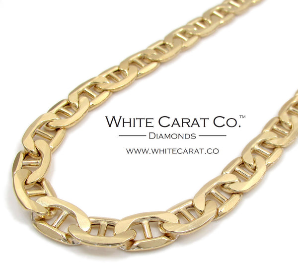 10K Gold Puffed Mariner Link Chain - 7.5 mm