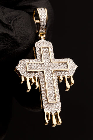 0.43 CT. Diamond Drip Cross Pendant in 10K Gold
