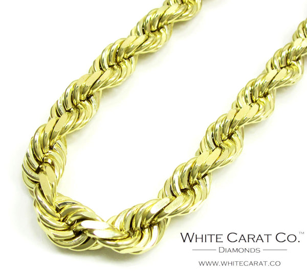 10K Gold Solid Rope Chain - 9.0 mm