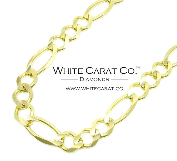 10K Solid Gold Figaro Chain - 9.5 mm