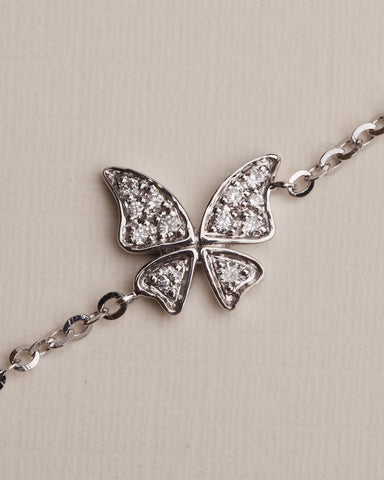 0.08 CT. Ladies Butterfly Diamond Bracelet in 14K White Gold