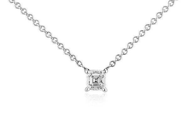 1/3 CT. Asscher-Cut Diamond Solitaire Pendant in 14K White Gold