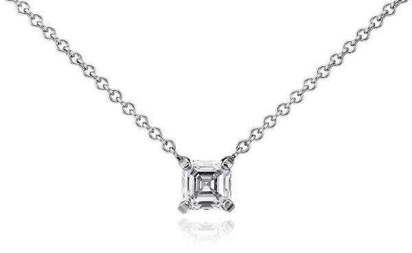 1/2 CT. Asscher-Cut Diamond Solitaire Pendant in 14K White Gold