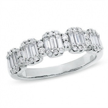 3.75 CT. Baguette and Round Diamond Wedding Band in White Gold
