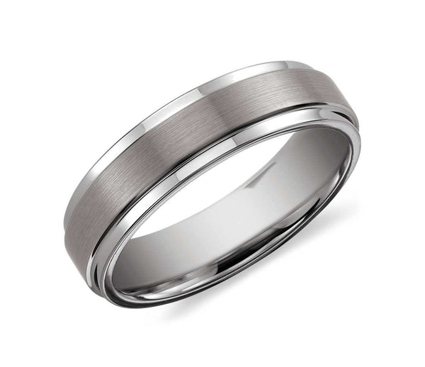 Brush Finished Tungsten Carbide Ring - Grey