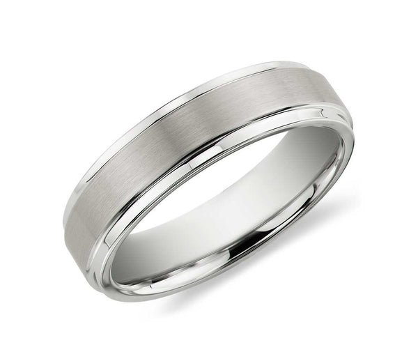Brush Finished Tungsten Carbide Ring - White