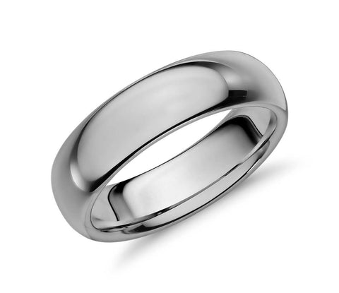 Classic Polished Tungsten Carbide Ring - Grey