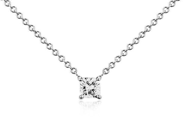 1/3 CT. Cushion-Cut Diamond Solitaire Pendant in 14K White Gold