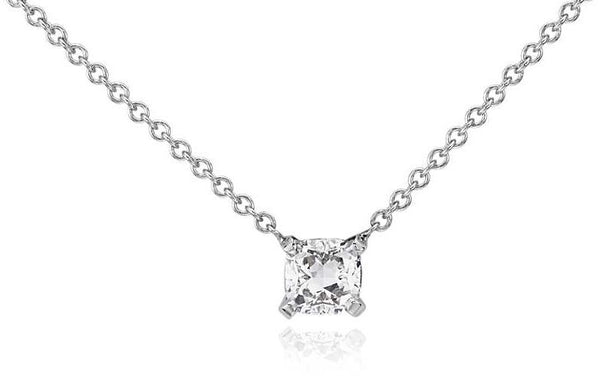 1/2 CT. Cushion-Cut Diamond Solitaire Pendant in 14K White Gold