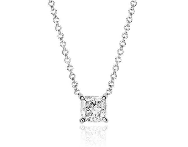 3/4 CT. Cushion-Cut Diamond Solitaire Pendant in 14K White Gold