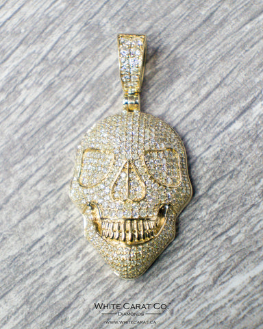 5.00 CT. Skull Diamond Pendant in 14K Gold