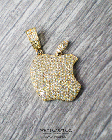 2.70 CT. Solid Apple Diamond Pendant in 14K Gold