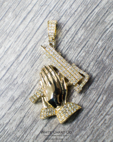 2.25 CT. Praying Hands with Gun Diamond Pendant in 14K Gold