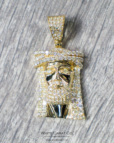4.80 CT. Jesus  Diamond Pendant in 14K Gold