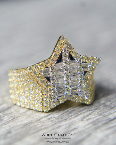 3.00 CT. Star with Baguette Diamond Men's Ring in 14K Gold
