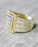 3.00 CT. Rectangle Face with Baguettes Diamond Men's Ring in 10K Gold