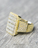 3.00 CT. Rectangle Baguette Face Diamond Men's Ring in 10K Gold