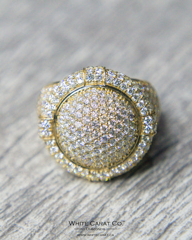 6.80 CT. Semi-Circle Diamond Men's Ring in 10K Gold