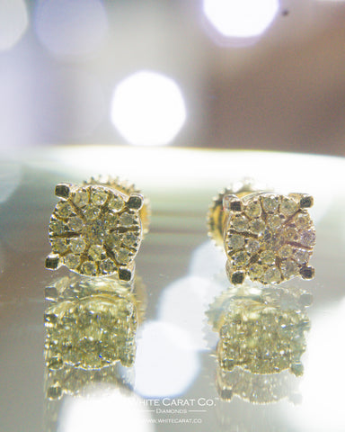 0.30 CT.  Round Brilliant Cut Diamond Earrings in 10K Gold