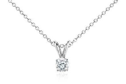 1/3 CT. Diamond Solitaire Pendant in 14K White Gold