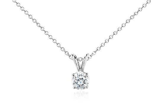 3/4 CT. Diamond Solitaire Pendant in 14K White Gold