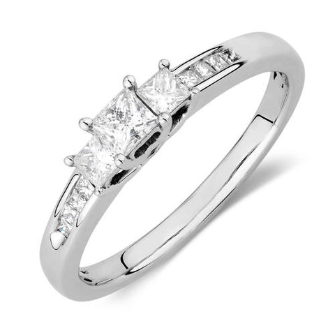 0.5 CT. Three Stone Princess Cut Diamond Engagement Ring in 14K White Gold