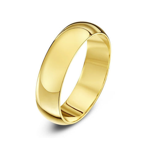 14K Gold Classic Domed Wedding Band - 5mm (Yellow or White Gold)