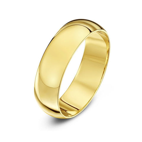 14K Gold Classic Domed Wedding Band - 6mm (Yellow or White Gold)