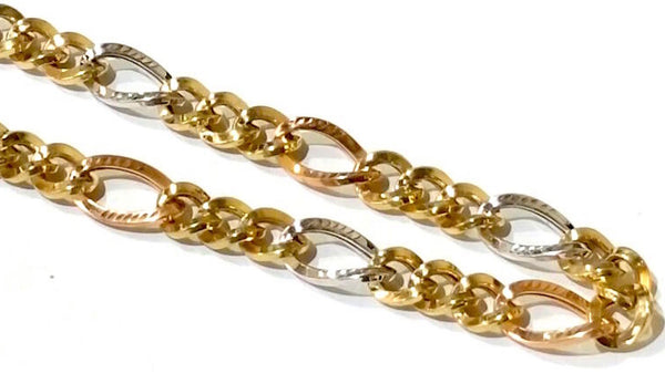 10K Tri-Colour Gold Figaro Chain - 9.5mm