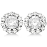 1.5 CT. Halo Diamond Earrings in 14K White Gold