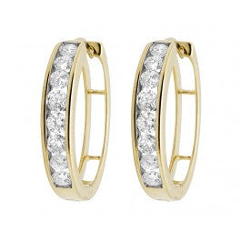 1.00 CT. Diamond Hoop Earrings in 10K Yellow Gold