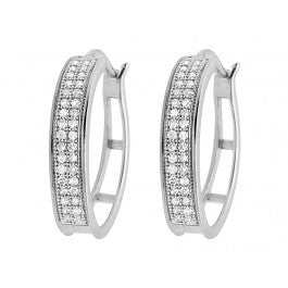 0.25 CT. Two Row Diamond Hoop Earrings in 10K White Gold