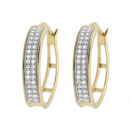 0.25 CT. Two Row Diamond Hoop Earrings in 10K Yellow Gold