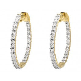 1.00 CT. Inside Out Diamond Hoop Earrings in 10K Yellow Gold