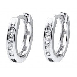0.15 CT. One Row Diamond Hoop Earrings in 10K White Gold