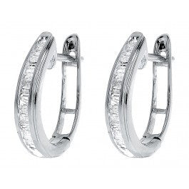 0.25 CT. Baguette Diamond Hoop Earrings in 10K White Gold