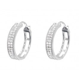 0.33 CT. Pave Diamond Hoop Earrings in 10K White Gold