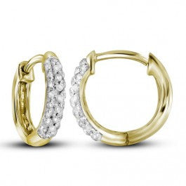 0.17 CT. Pave Diamond Hoop Earrings in 10K Yellow Gold
