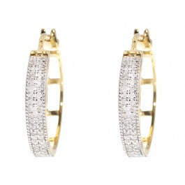 0.27 CT. Two Row Pave Diamond Hoop Earrings in 10K Yellow Gold