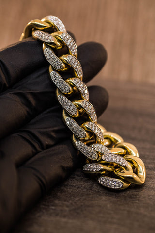 13.00 CT. DIAMOND MIAMI CUBAN BRACELET IN 10K GOLD