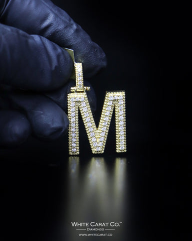 "0.87 CT. ""Letter M"" Gold Pendant in 10K Gold"