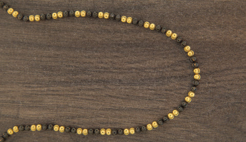 10K Gold Black Beads Chain