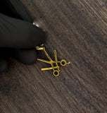 0.20 CT. Dia Scissor and Straight Razor Pendant in 10K Gold