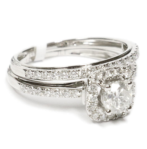 1.00 CT. Halo Diamond Engagement Ring in 14K White Gold