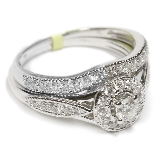 0.75 CT. Halo Diamond Engagement Ring in 14K White Gold